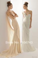 free shipping 2014 new fashion champagne long sheath design vestidos Formal sexy Elegant party weddings Bridesmaid Dresses