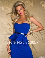 Sexy Dresses New Fashion Women Sexy Career Office Party Evening Strapless Off Shoulder Midi Peplum Dress Red Black White Pink