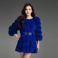 2014 Genuine Women's Natural Rex Rabbit Fur Coat Fox Fur Sleeve Female Medium-long Slim Outerwear VK2226