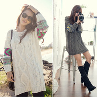 Pinterest 1023 twisted casual loose pullover medium-long sweater outerwear