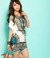 Free shipping 2014 New Miniskirt Lce Silk Cotton Bat Sleeve Round Brought National Wind Match Chatelaine Dress