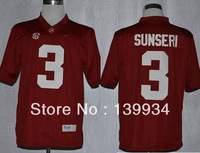 #3 Vinnie Sunseri  Red White SEC patch Alabama Crimson Tide College Football Jerseys cheap free shipping customized