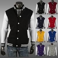 2014 New Hot Mandarin Collar Jacket Fashion Men's Jackets Baseball Men 8 color 4 size 122070