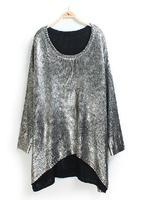 Free shipping woman punk gilding  metallic silver gold loose long maxi sweater coat jumper jersey oversize