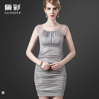 Guoisya 2013 summer o-neck tank dress pleated chiffon one-piece dress short design slim hip