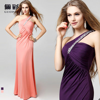 Guoisya fashion star design racerback long formal dress one shoulder evening dress banquet evening dress 2013