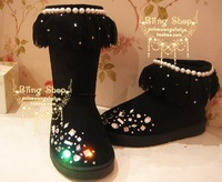 Multicolor handmade senior shoes luxury chiffon rhinestone pearl genuine leather tassel snow boots gaotong