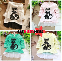 [1st baby mall] 4pcs/lot New 2014 false 2pcs suit cartoon Cat long sleeve girls dress Spring girls t shirt 5 colors girls Tees
