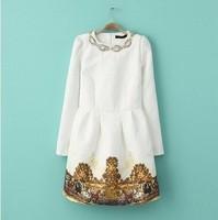 (ASS) Autumn and winter women fashion vintage basic high waist long sleeve handmade beading dress