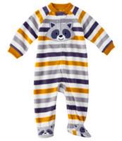 Brand Carter's Baby boy's Fleece Striped fox grey/yellow footed pajamas bebe sleep & play retail bebe clothing