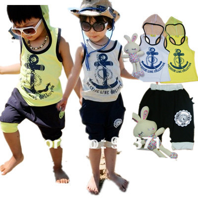 2013 Boys girl clothing sets new arrival Beach Set Summer baby children Navy Beach Set anchor kids suit vest+short 2pcsTZ05217(China (Mainland))