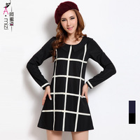 Free shipping Mm elegant plus size clothing 8666 fashion geometry checkerboard palid long-sleeve dress female