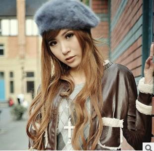 2013 autumn and winter rabbit fur beret solid color painter cap bucolics princess hat(China (Mainland))