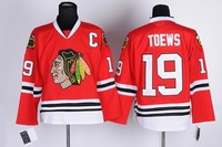 Free Shipping 2013 New Cheap Authentic Chicago Blackhawks Ice Hockey Jerseys #19 Jonathan Toews Jersey Wholesale Mix Order