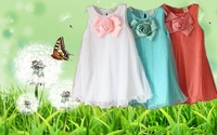 2014 new Free shipping 5pcs Wholesale cotton blue/pink/white A-line Knee-length flower baby child girls girl party dress dresses