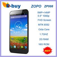 Original ZOPO ZP998 Octa Core Smartphone 1.7GHz 5.5 Inch Gorilla Glass FHD Screen 2GB 16GB Android 4.2 OTG NFC Free Flip case