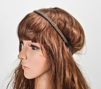 Wholesale retail charming Fshion beading handmade black beads braid Elastic headband party hari accessories