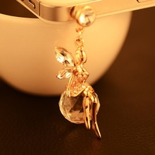 Full Gold Planted Diamonds & Crystal Fairy Dust Plug For Mobile Phone Accessories SP/Mix $8 Order Free Shipping B072