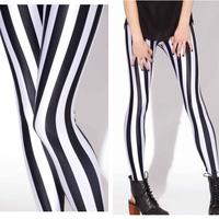Hot Simple Black White Stripe Design Leggings For Women Lady Sexy Supernova Pants