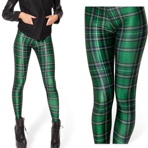 Colored Striped Leggings Women Leggings Green Color