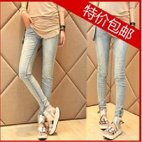 Mushroom women's patch hole elastic tight skinny pants pencil pants jeans ankle length trousers female