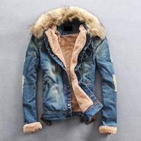 Free shipping + Male wadded jacket slim denim fur collar berber fleece liner male denim outerwear male