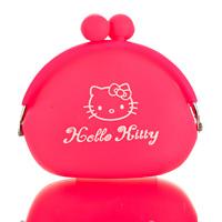 Candy color silica gel coin purse girls hellkey cartoon coin case silica gel lucky cat series  free shipping