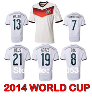 New!!Top Thai Quality Germany World Cup 2014 Soccer Jersey Ozil Reus Gotze Muller Schweinsteiger LAHM KLOSE Football Shirts