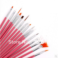 [ 15BS-001 ]15 Pcs Nail Art Design acrylic brush UV Gel Set Painting Draw Pen Pink Handle Brush Tips Toolt + Free Shipping