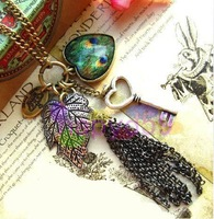 45pcs new Western retro Korea key sweater chain necklace love leaves tassels necklace stage performance jewelry accessories