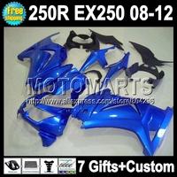 7gifts+ For Kawasaki all blue ZX250R  Ninja 250R 17#345 08 09 10 11 12 gloss blue EX 250 EX250 2008 2009 2010 2011 2012+Fairing