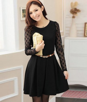 2014 New Spring dress women's pleated sweet lace long-sleeve dress autumn casual dot lace dress