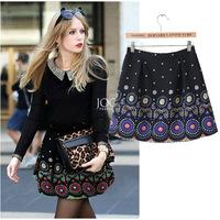 2014 summer new women's vintage print skirts fashion female retro printed skirt for women ethnic desigual ladies' brand skirt