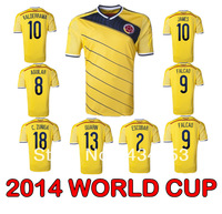 New!! Top Thai Quality Colombia World Cup 2014 Soccer Jersey FALCAO JAMES VALDERRAMA AGUILAR ZUNIGA ESCOBAR GUARIN Football