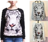 Free shipping Fashion Punk Studs Hoodies Women Tiger Printed Pullovers Rivet Neck Long Sleeve Loose Sweatshirts