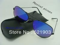 1pcs FREE SHIPPING!Best Quality Brand New fashion Sunglasses Men's/women' sports Sunglass Black Frame Blue UV400 Sunglasses