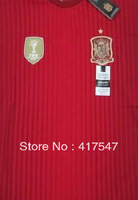 Hot Sell,2014 World Cup Spain Home Red Adizero Player Version Best Thai Quality Soccer Jerseys Football Shirt
