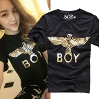 2014 New Fashion bronzier boy metallic cylinder eagle short-sleeve t-shirt for Women/men, cotton shirts + free shipping