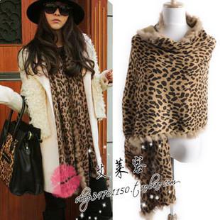Fashion spring thermal fashion leopard print rabbit fur women's scarf can do cape(China (Mainland))