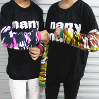 Harajuku South Korean New michyeora ~ many letters camouflage sleeves loose sweater p32655 , free shipping