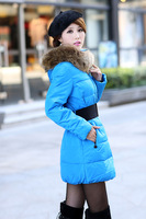 2014 L-3XL winter new plus size ladies' dress fashion brand leisure raccoon fur collar jacket warm parkas  retail free shipment