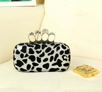 2014 Hot  New Fashion Punk Skull Ring Sexy Leopard Print Clutch Evening Bag Handbag with Sequin Metal Chain