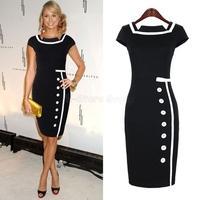 New Women Summer Dress 2014 Rockabilly Plus Size Formal Women Work Wear Vintage Bodycon Pencil Dresses Shift Ladies Dress Y9835