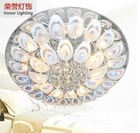 Modern minimalist romantic round peacock crystal lamp living room lamp bedroom ceiling lamp chandelier restaurant