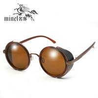 Fashion vintage round box leather women's sunglasses metal sunglasses fashion glasses