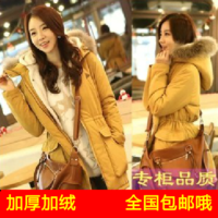 Women's wadded jacket 2013 autumn winter outerwear thickening cotton-padded jacket women's medium-long berber fleece