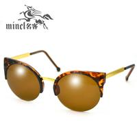 Fashion vintage 2014 vintage metal box cat-eye round sun glasses sunglasses male women's