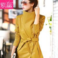 2014 New Hot! fashion big size jacket women Slim-fitting leather jacket women motorcycle genuine leather jacket coat women M-3XL