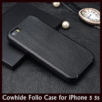 Deluxe Cowhide Folio Flip Leather Case for Apple iPhone 5 5s + Free Shipping
