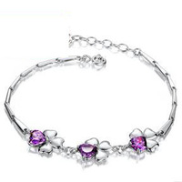 2014 New Arrival,Eternal Love Crystal Clover Bracelet,925 Sterling Silver with 3 Layer Platinum Plated OB13